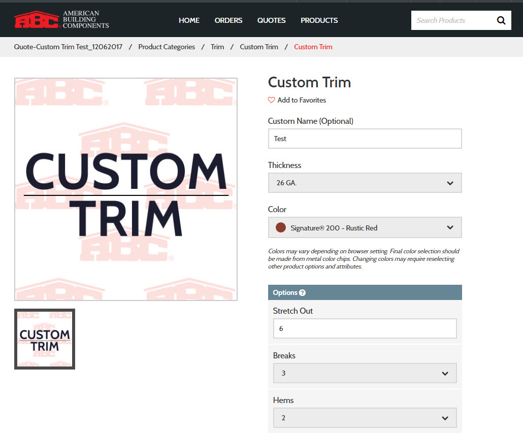 Order ABC Custom Trim and Structural Products Online